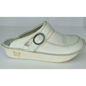 Alegria PG Lite White Leather Nurse Shoes Mules